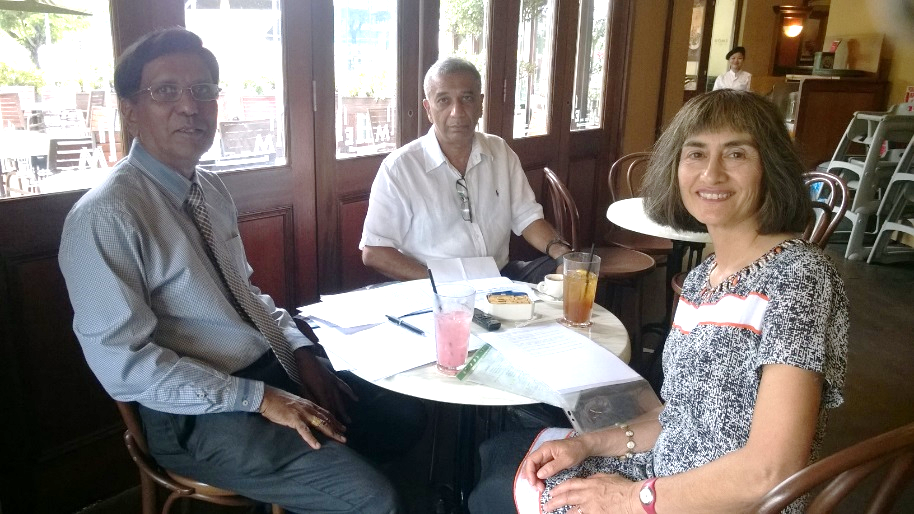 L-R. Jeyapalan Kasipillai (Monash, Malaysia), Edgar Pushparatnam (formerly Technip) and Diane Kraal (Monash, Australia). Research project interview in Malaysia, February 2016.